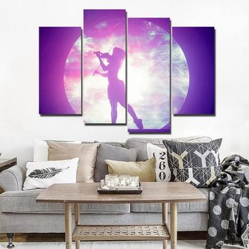 Girl playing violin guitar with moon sky background wall art print on canvas