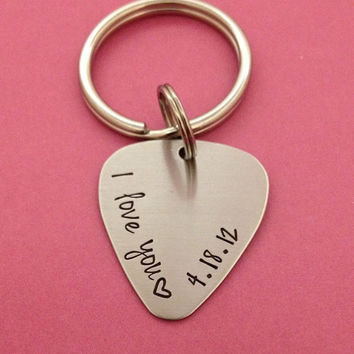 Customizable I Love You With Date Guitar Pick Key Chain - Hand Stamped Stainless Steel Wedding Anniversary Dating BFF