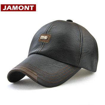 [JAMONT] Men Baseball Cap Winter Snapback Hat PU Leather Warm Hats Male Fashion Caps Casquette