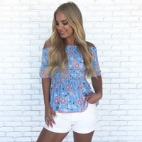 Daytime Daisy Floral Off Shoulder Top
