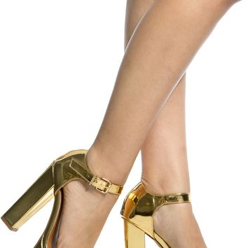 Gold Faux Patent Leather Chunky Platform Heels @ Cicihot Heel Shoes online store sales:Stiletto Heel Shoes,High Heel Pumps,Womens High Heel Shoes,Prom Shoes,Summer Shoes,Spring Shoes,Spool Heel,Womens Dress Shoes