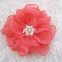 Coral Chiffon Flower Hair Clip Wedding Bride Bridesmaid Prom with a Pearl and Rhinestone Accent Bridal Shower Hair Accessories