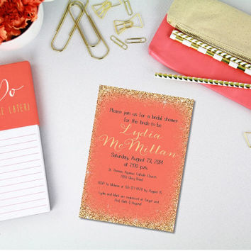 Printable Coral and Gold Glitter bridal shower Invitation