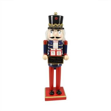 """14"""" Decorative Wooden Red Blue and Gold Nutcracker with Christmas Countdown Sign"""