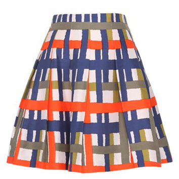 Women High Waist Plaid Color Mini Skirt