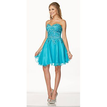 Juliet 772 Turquoise Strapless Corset Back Homecoming Party Dress