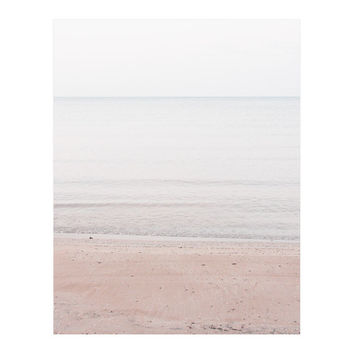 Lake Huron 3 - Minimalist Photography, Seascape, Landscape, Water, Beach, Pastels, Nature, Calm, Zen, Peaceful, Sand, Pink, Brown, Blue