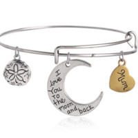 Alex and Ani style moom pendant charm bracelet,a perfect gift !