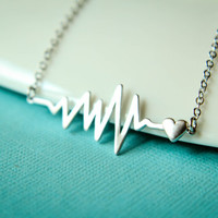 Heart with a Beat Necklace, Available in Silver and Gold