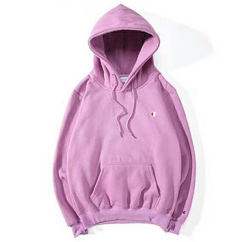 Champion Autumn And Winter New Fashion Bust Logo Print Women Men Hooded Long Sleeve Sweater Top Light Purple