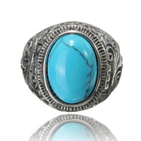 Vintage 316L Stainless Steel Titanium Turquoise Ring