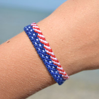 Patriotic Bracelet or Anklet-4th of July jewelry-American USA flag bracelet-red white blue-fiber friendship woven bracelet-macrame bracelet