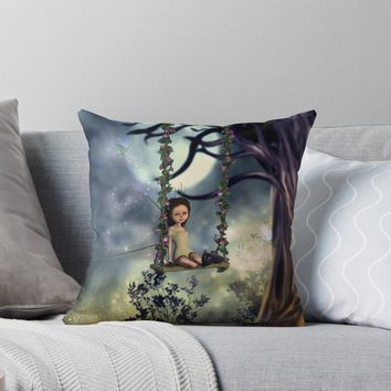 'Cute little fairy with kitten on a swing' Throw Pillow by nicky2342
