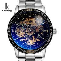Hollow Skeleton IK colouring Luxury Fashion Automatic Winding Watches Men Mechanical Watch Sports Relogio Automatico Masculino