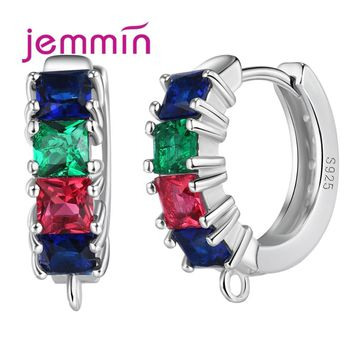 Jemmin Sparkly Exquisite DIY Jewelry Components 4 Square Colorful Rhinestone High-End 925 Sterling Silver Earrings Hooks