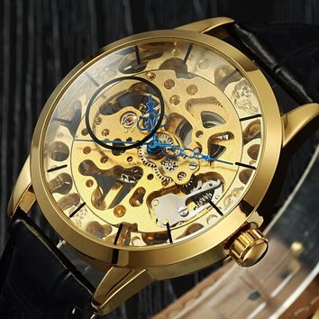 Luxury Brand Top Men's Gold Watch Skeleton Automatic Mechanical Watches Leather Strap Clock men