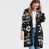 Black and White Jacquard Open Front Orion Sweater Coatigan