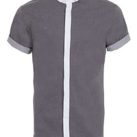 Grey Triple Contrast Short Sleeve Smart Shirt - Men's Shirts  - Clothing