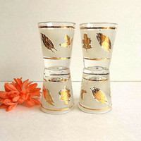 Vintage 1960's FOUR Gold Foliage Golden Leaf Libbey shot glasses set, frosted band gold trim Mid Century Mad Men Hipster barware bar ware