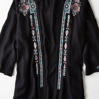 AEO Women's Embroidered Kimono (Black)