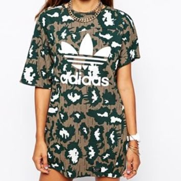 Adidas Originals Camo Asymmetric T-Shirt Dress