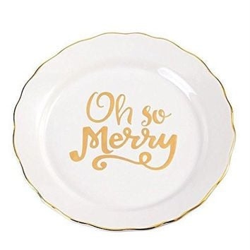 """Gold """"Oh So Merry"""" Dessert Plate"""
