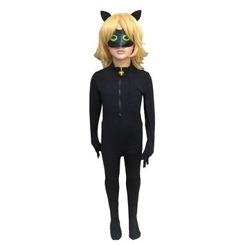 3PCS Black Cat Noir Costume Cosplay Boys Clothes with Mask Ear Tail Accessories Ladybug Cat Miraculous Kids Adrien Marinette Set