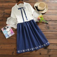 summer dress 2017 new japanese mori girl style vintage vestidos women short sleeved cotton dresses