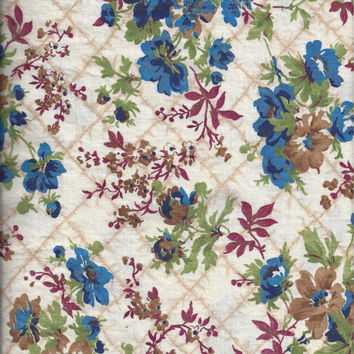 Vintage 1970s Schwartz Liebman Textiles Cotton Quilt Fabric BY the YARD with Blue, Green, Tan, & Red Florals on Trellis