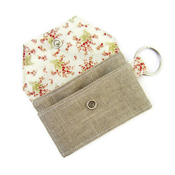 Mini key chain wallet/ simple ID Key chain pouch/ keychain coin purse / Business card holder / Floral pattern and linen