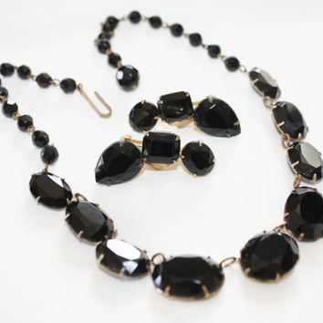 Art Deco Openback Bezel Black Necklace, Vintage Collar Choker Boho Jewelry Vintage 1930s