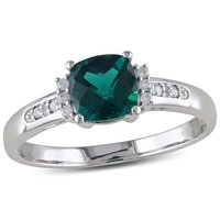 0.05 CT  Diamond TW And 1 CT TGW Created Emerald Fashion Ring  10k White Gold GH I2;I3