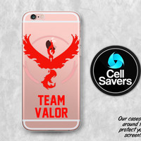 Team Valor Clear iPhone 6s Case iPhone 6 iPhone 6s Clear Case iPhone 6 Plus iPhone 5c iPhone SE Clear Case Pokemon Go Red Team Valor Fire