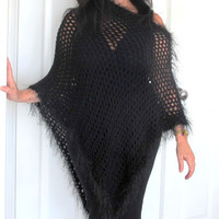 Hand crochet poncho, long black evening wrap, gift under 50