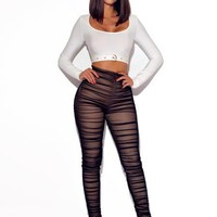 Black Mesh Ruche Stretch Pants