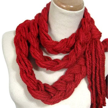 Sale Red Braided Scarf