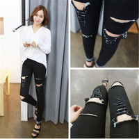 women vintage holes Ripped jeans Black trousers plus size Female Retro denim capris Fashion destroyed pants clothing = 1929794628