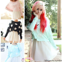 [4 Colors] Sun Flower Top + Suspender Skirt Dress 2 PCS Set SP140352 from SpreePicky