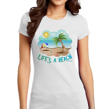 Fun Summer Beach Scene - Life's a Beach Juniors T-Shirt by TooLoud