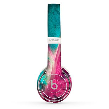 The Neon Pink & Green Leaf Skin Set for the Beats by Dre Solo 2 Wireless Headphones