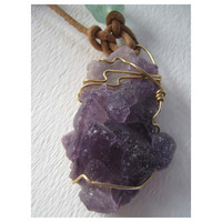 Purple Fluorite Cluster Crystal - Natural Crystal Pendant
