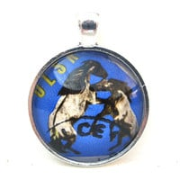 Postage Stamp Pendant of Horses from Poland, from Vintage, in Glass Tile Circle