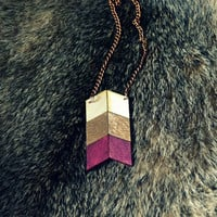 Yuchi Arrow Chevron Tribal Necklace in Plum Gold