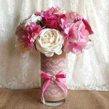 burlap and lace covered pink glass vase, wedding, bridal shower, baby shower, home decoration