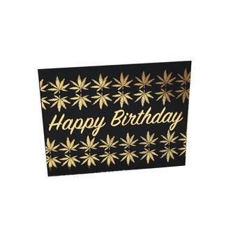 Gold Foil Happy Birthday Weed Leaf Stoner Birthday Sarcastic Funny Greeting Card, Girly, Feminine, Watercolor Artwork