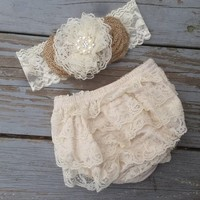 Rustic Shabby Chic Lace Diaper Cover-Rustic Burlap Roses Diaper Cover- Baby Bloomer Set-Headband-Lace Baby Bloomers-Burlap Roses-Rustic Baby