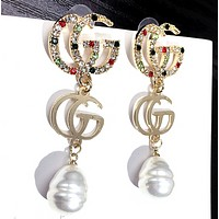 GUCCI New fashion pearl more diamond long earring women accessories