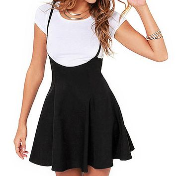 Elegant Women's Strappy Black Suspender Skirt Tunic Party Pleated Skater Skirts