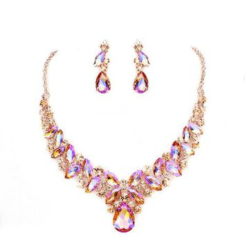 Ab Peach Crystal Statement Chunky Rose Gold Necklace Set