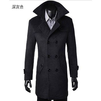 Free Shipping Winter Mens Cashmere Coat Long Wool Coat Men Double Breasted Trench Coat Mens Peacoat Coat Overcoats fashion 4XL